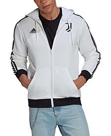 Men's White Juventus 3-Stripe Full-Zip Hoodie