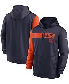 Men's Navy, Orange Chicago Bears Colorblock Performance Pullover Hoodie