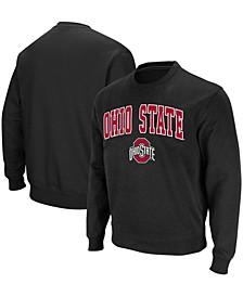 Men's Black Ohio State Buckeyes Team Arch Logo Tackle Twill Pullover Sweatshirt