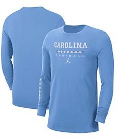 Men's Light Blue North Carolina Tar Heels Word Long Sleeve T-shirt