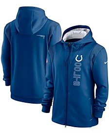 Men's Royal Indianapolis Colts Sideline Team Performance Full-Zip Hoodie