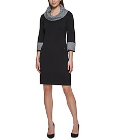 Petite Cowl-Neck Sweater Dress