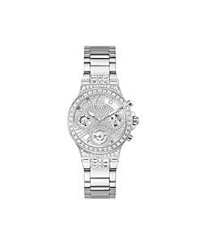 Women's Silver-Tone Stainless Steel Glitz Bracelet Multi-Function Watch 36mm