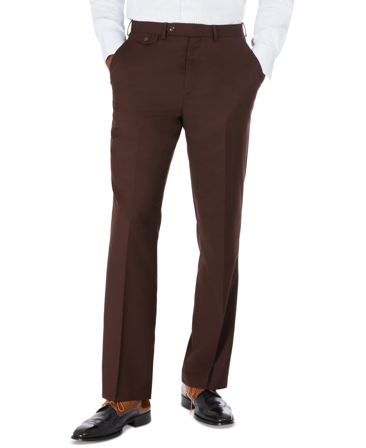 1960s Men's Clothing Tayion Collection Mens Classic-Fit Solid Brown Suit Separate Pants $175.00 AT vintagedancer.com