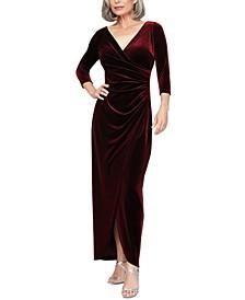 Side-Ruched Velvet Gown