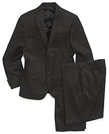 Black Solid Suit Blazer & Pants, Big Boys Husky
