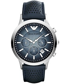 Emporio Armani Unisex Chronograph Blue Leather Strap Watch 43mm AR2473