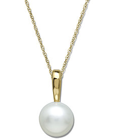 Cultured Freshwater Pearl Pendant Necklace in 14k Gold (6mm)