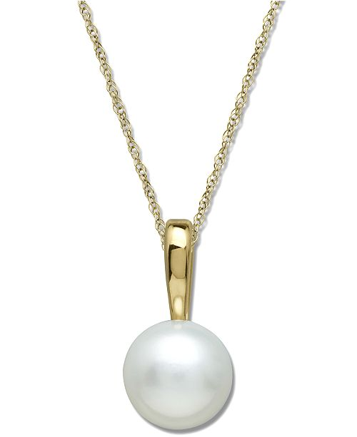 Macy's Cultured Freshwater Pearl Pendant Necklace in 14k Gold (6mm)