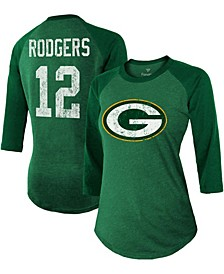 Women's Aaron Rodgers Green Green Bay Packers Player Name Number Tri-Blend Three-Quarter Sleeve T-shirt