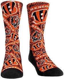 Men's Cincinnati Bengals Logo Sketch Multi Crew Socks