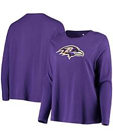 Women's Plus Size Purple Baltimore Ravens Primary Logo Long Sleeve T-shirt
