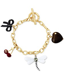 Gold-Tone Mixed Charm Signature C Link Bracelet