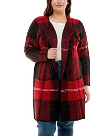 Plus Size Long Sleeve Cardigan with Patch Pockets and Fringe