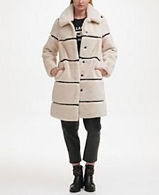 Faux Mink Striped Coat