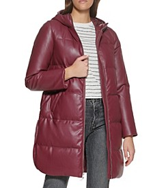 Faux Leather Quilted Parka Coat