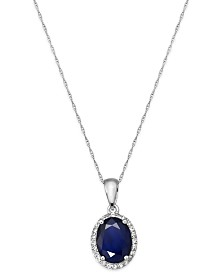 Sapphire and White Sapphire Oval Pendant Necklace in 10k Gold (2-1/4 ct. t.w.), Created for Macy's