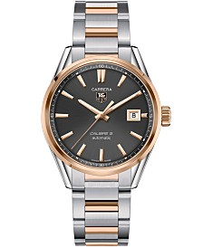 TAG Heuer Men's Swiss Automatic Carrera Calibre 5 18k Rose Gold and Stainless Steel Bracelet Watch 39mm