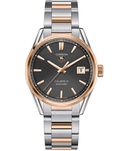 TAG Heuer Men's Swiss Automatic Carrera Calibre 5 18k Rose Gold and Stainless Steel Bracelet Watch 39mm WAR215E.BD0784
