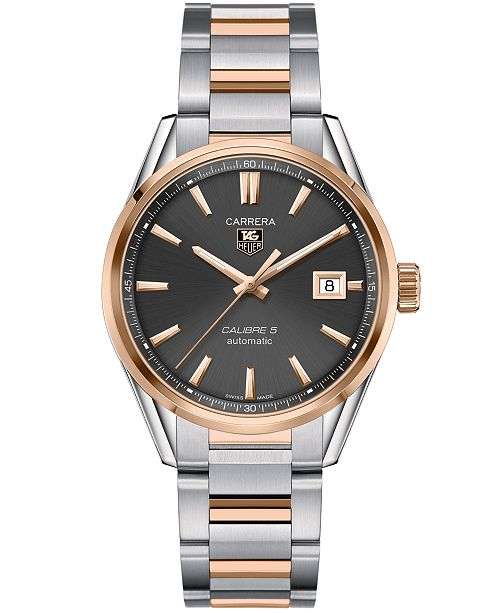 2c30a5445481 ... TAG Heuer Men s Swiss Automatic Carrera Calibre 5 18k Rose Gold and Stainless  Steel Bracelet Watch ...