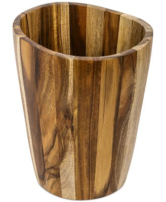 closeout! kassatex bath accessories, acacia trash can - bathroom
