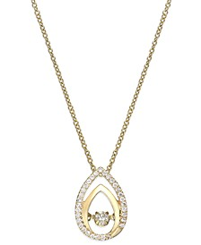Diamond Double Teardrop Pendant Necklace in 10k Gold (1/6 ct. t.w.)