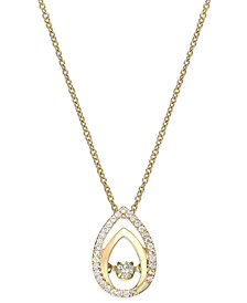 Twinkling Diamond Star™ Diamond Double Teardrop Pendant Necklace in 10k Gold (1/6 ct. t.w.)