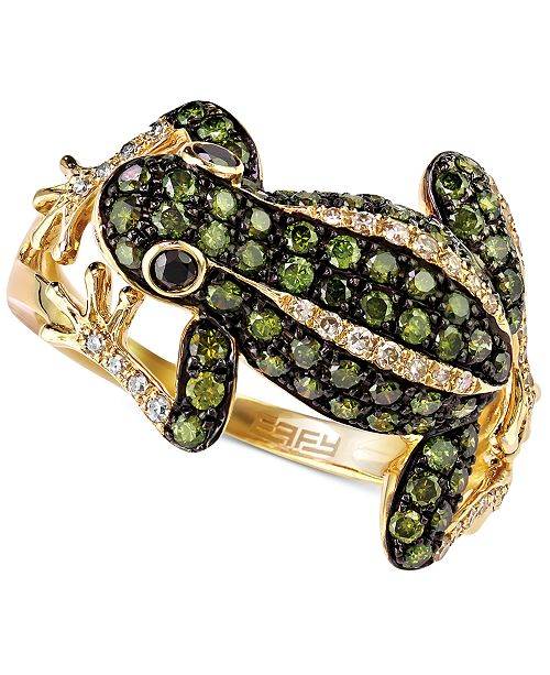 EFFY Collection DiaVerde by EFFY White (1/8 ct. t.w.) and Green (3/4 ct. t.w.) Diamond Frog Ring in 14k Gold