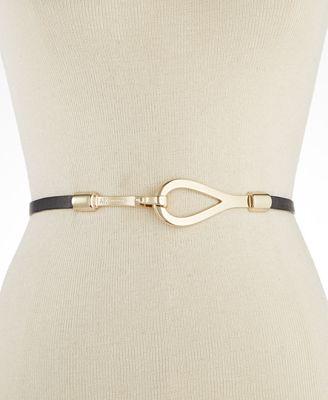 Anne Klein Skinny Leather Interlock Belt