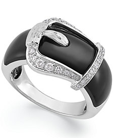 Sterling Silver Ring, Onyx (8 ct. t.w.) and Diamond (1/4 ct. t.w.) Buckle Ring