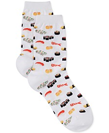 Women's Sushi Print Fashion Crew Socks