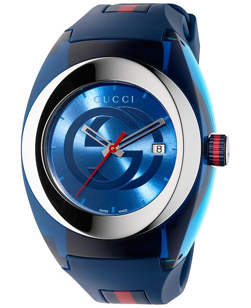 Gucci Sync Unisex Swiss Blue and Red Rubber Strap Watch 46mm YA137104
