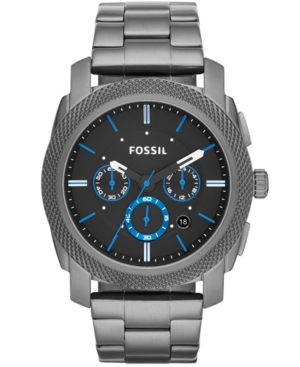 Fossil Men's Chronograph Machine Smoke-Tone Stainless Steel Bracelet Watch 45mm FS4931
