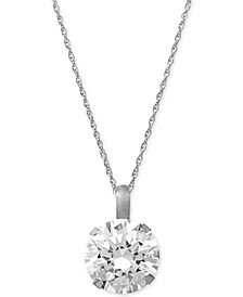 "Swarovski Zirconia Round 18"" Pendant Necklace in 14k White Gold (3-1/3 ct. t.w.)"