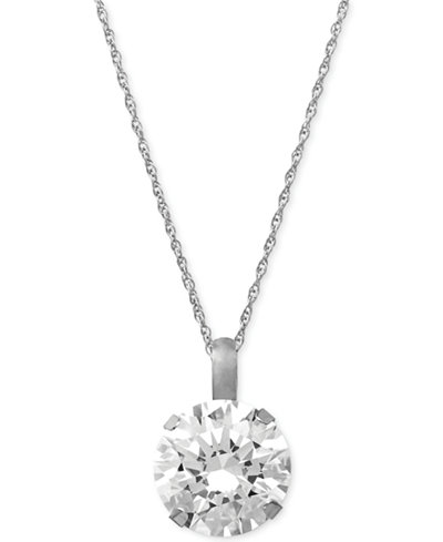 Swarovski zirconia round 18 pendant necklace in 14k white gold 3 main picture aloadofball Images
