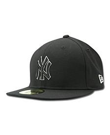 Kids' New York Yankees MLB Black and White Fashion 59FIFTY Cap