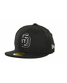 New Era Kids' San Diego Padres MLB Black and White Fashion 59FIFTY Cap