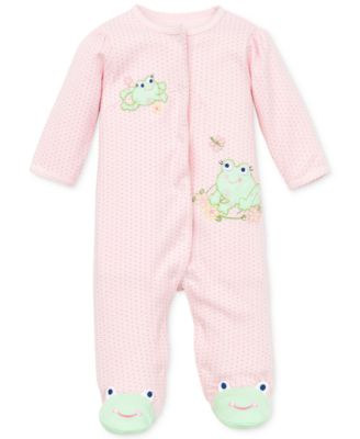 Baby Girls Coverall with Frog Footies