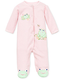 Little Me Baby Girls Coverall with Animal Footies