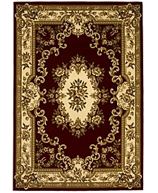 "Corinthian 5308 Red/Ivory Aubusson 2'3"" x 3'3"" Area Rug"