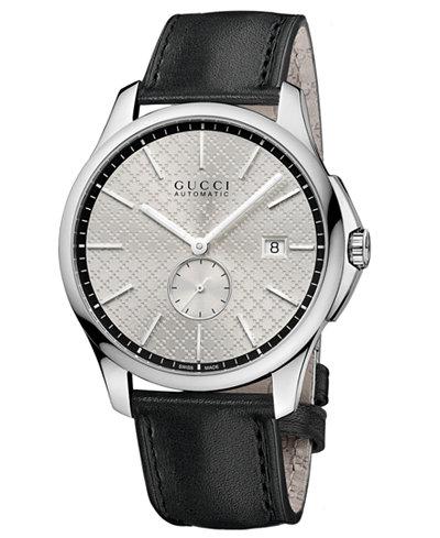 Gucci Unisex Slim Swiss Automatic G-Timeless Leather Strap Watch 40mm YA126313