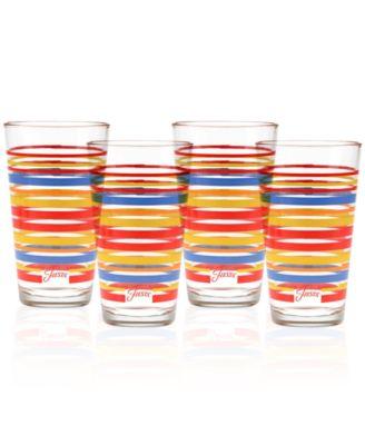 Scarlet Stripe Set of 4 Highball Glasses