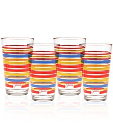 Fiesta Scarlet Stripe Set of 4 Highball Glasses