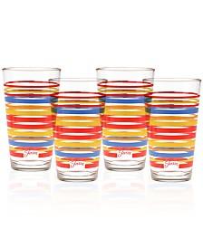 Fiesta Scarlet Stripe Set of 4 Highball Glasses