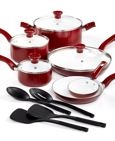 t fal grand chef ceramic nonstick 14 piece cookware set cookware kitchen macy 39 s bridal and. Black Bedroom Furniture Sets. Home Design Ideas