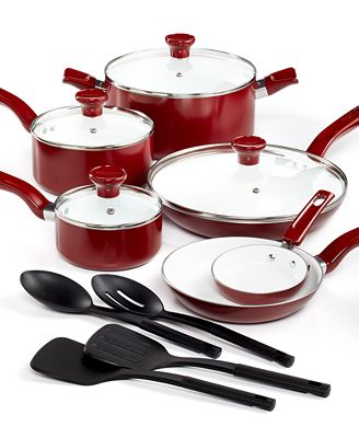 CLOSEOUT! T-Fal Grand Chef Ceramic Nonstick 14-Pc. Cookware Set