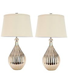 Set of 2 Elli Champagne Gourd Lamps