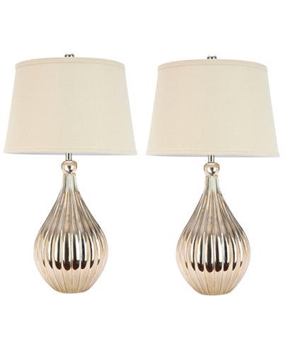 Safavieh Set of 2 Elli Champagne Gourd Lamps