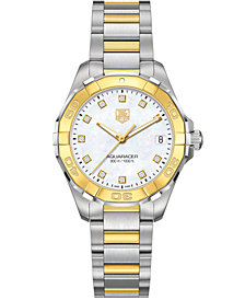 TAG Heuer Women's Swiss Aquaracer Diamond Accent 18k Gold-Capped Stainless Steel Bracelet Watch 32mm WAY1351.BD0917