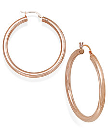 Signature Gold™ Diamond Accent Hoop Earrings in 14k Gold, White Gold or Rose Gold over Resin, Created for Macy's